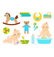bachildren and set toys for happy childhood vector image