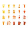 beer mug color silhouette icons set