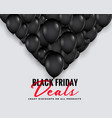 black friday deals background with balloons vector image