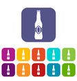 Bottle of beer icons set