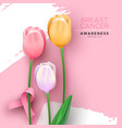 breast cancer awareness pink ribbon tulip flower