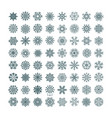 collection of black snowflakes on a white vector image vector image