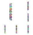 Colorful ellipse fractal font - letter I vector image vector image