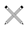 crossed wooden pencils creativity tool vector image