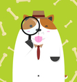 cute big fat Jack Russell dog as detective vector image vector image
