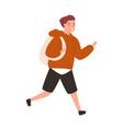 cute boy running to school portrait teenage vector image vector image