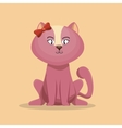 Cute character pink kitty with bow icon