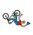fall off bike unsuccessful trick on bmx bicycle vector image