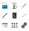 flat icon workshop set of accumulator carrying vector image vector image