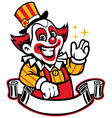funny clown with blank ribbon below vector image vector image
