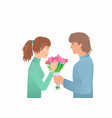 guy give girl bouquet on the date vector image vector image