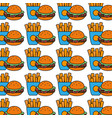 hamburger and fries french food background icon vector image