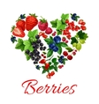 I love berries heart shape emblem vector image