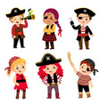 kids dressed in pirate costumes vector image