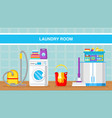 laundry room web banner template with text vector image vector image