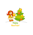 Little girl with christmas tree Adorable kids in vector image vector image