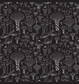 monochrome line forest mushrooms seamless pattern vector image