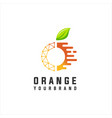 orange fruit digital tech logo vector image