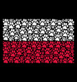 polish flag pattern of paw footprint items vector image