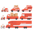 red delivery vehicles set express delivery vector image