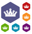 royal crown icons set hexagon vector image vector image