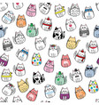 seamless pattern with miscellaneous cats vector image