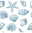 seashells seamless pattern sea shell summer ocean vector image