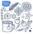 set new years and winters elements isolated on vector image vector image