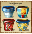 Set of four pots in the most unusual colors vector image