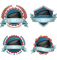 Set of ice hockey sport icons with ribbons laurel vector image