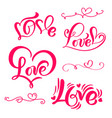 set of red calligraphy word love vector image