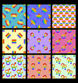 set of seamless pattern with bright pride vector image vector image