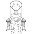 superhero on throne line art vector image vector image
