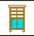tall commode with chest of drawers and small vector image vector image
