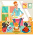 teacher reading for cute kids in kinder garden vector image vector image