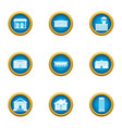town planning icons set flat style vector image