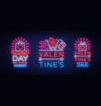 valentines day is a proposal a collection neon vector image