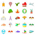 visit icons set cartoon style vector image vector image