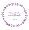watercolor wreath of lavender vector image