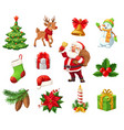 winter christmas holiday objects isolated vector image vector image