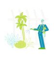 worker or gardener character spraying fertilizers vector image