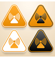 Set of triangular signs of danger of white black vector image