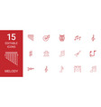 15 melody icons vector image vector image