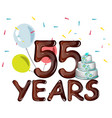 55 years anniversary celebration card with ballons