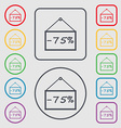 75 discount icon sign Symbols on the Round and vector image