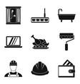 bath repair icons set simple style vector image