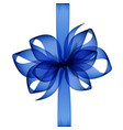 blue transparent bow and ribbon top view close up vector image vector image