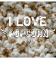 blurred background with popcorn and label Design vector image