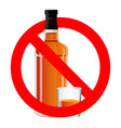 bottle of alcohol drink and stemware in no allowed vector image vector image