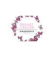 breast cancer awareness pink butterfly circle card vector image vector image